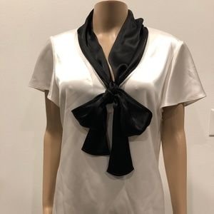 ST JOHN NORDSTROMS LIQUID SATIN NECK BOW BLOUSE 10